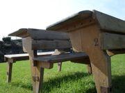 Antike Schulbänke Schreibtisch