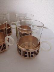 6 Teetassen gläser Metallhalterung Kupfer