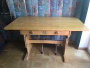 Schreibtisch verstellbar Massivholz Vollholz von