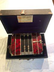 Ziehamonika Konzertina Akkordeon antik koffer