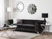 3-Sitzer Sofa Samtstoff schwarz SOTRA neu