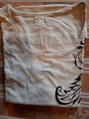 T-Shirt Gr 50 beige Federmuster