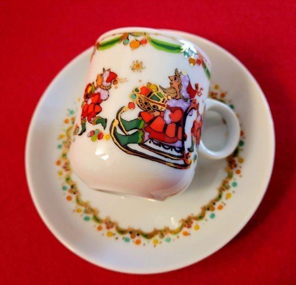 Rosenthal Björn Wiinblad Espressotasse Frohe Weihnachten Mokkatasse Weihnachtsgechirr Sammeltasse
