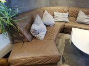 Ledercouch braun Sofa Sitzgarnitur zu