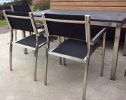 Gartengarnitur Edelstahlgestell mit Granitplatte und