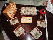 altes Puppenstuben Wohnzimmer bunt 10-tlg