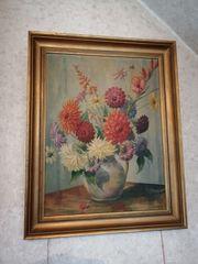 Ölbild Blumen 40er Jahre