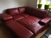 rote Leder Couch Bar Hocker
