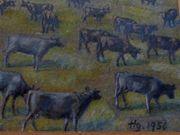 altes Gemälde Ölgemälde Rinder Kühe