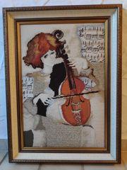 Gobelin-Stickbild Geigenspielerin von Rosina Wachtmeister