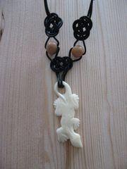 Lederband Halsband - mit weißem Salamander