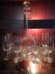 Weinkaraffe mit 6 Gläser