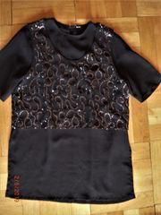 Tunika Bluse schwarz mit Pailletten