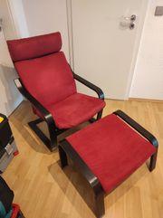 IKEA POÄNG Sessel und Hocker
