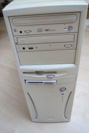 Vintage PC-Tower mit Funktastatur Funkmaus