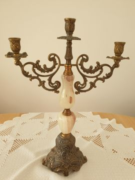 Kerzenleuchter Messing, Gussmessing Kerzenständer Kerzenhalter 3 armige Onyx.