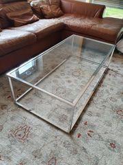 Couchtisch verchromtes Metallgestell Glas