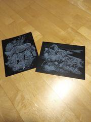 2 Pferde Kratzbilder Silber
