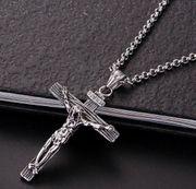 Edelstahl Halskette Kruzifix Jesus Kreuz