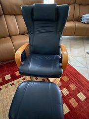 Relax Sessel Echtleder Farbe Blau