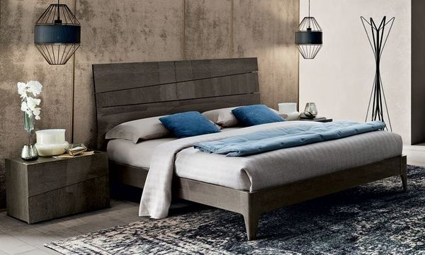 Bett Doppelbett Schlafzimmer Futonbett Hochglanz Braun Grau ...