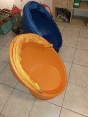IKEA Drehsessel blau und orange