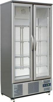 2- türiger Glaskühlschrank aus Edelstahl