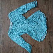 Bluse Shirt türkis-weiss Gr 36