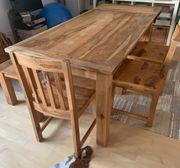5-zeitige Essgruppe Massivholz Tisch erweiterbar