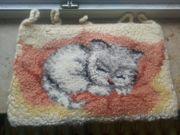 Handgeknüpftes Katzenbild mit Schlaufen