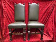 Königsstühle Leder Grün Antik