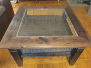 Couchtisch Holz Glas Wohnzimmertisch 75x75