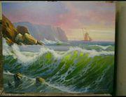 Ölgemälde mit Segelschiff Meeresstil Original