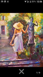 Wunderbares Ölgemälde Frau mit Sonnenhut