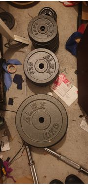 Gewichte Alex 135kg 2x Hantelstangen