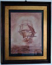 Schiff im Nebel Öl Handgemalt