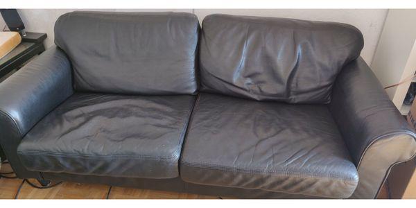 Schwarzes Echtleder Sofa von Musterring