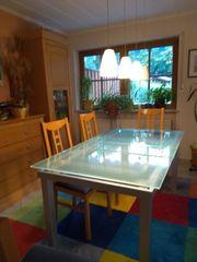 Großer Glastisch satiniertes Glas ausziehbar