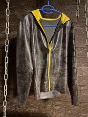 Langärmelige Latex-Jacke schwarz gelb mit