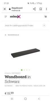 Wandboard Wandbrett Wandregal schwarz und