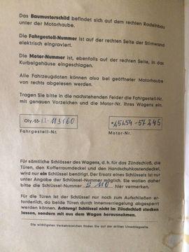 Betriebsanleitung OPEL Olympia 1954: Kleinanzeigen aus Bensheim Fehlheim - Rubrik Oldtimer-Teile