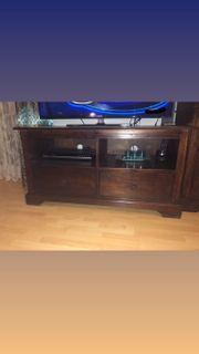 TV Board aus braunem Massivholz