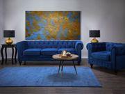 Sofa Set Samtstoff kobaltblau 4-Sitzer