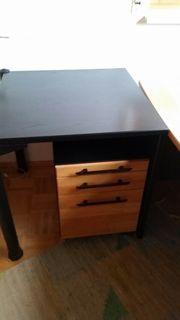 Schreibtisch mit Bestelltisch und Rollcontainer