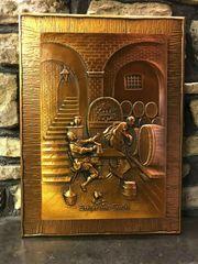 Kupferbild Handarbeit Zecher und Teufel