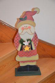Nikolaus Figur Weihnachtsmann aus Holz