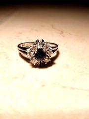 Ring 585 Weissgold Saphir Diamanten