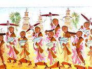 primitives Wandbild mit burmesischen Nonnen