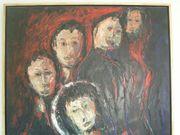 Gemälde Öl auf Leinwand Familie