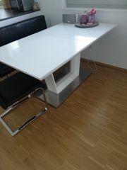 Esstisch Tisch weiß Hochglanz ausziehbar